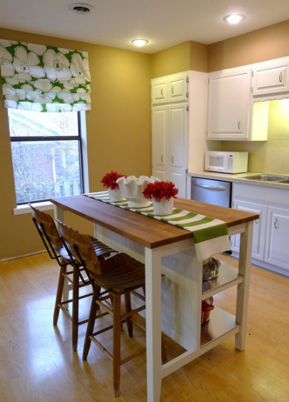 I love how our Craigslist bar stools look with the oiled butcher block, but  the island looks great without them too. - Remodelaholic New Ikea Kitchen Island